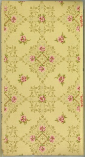 """All-over scrolling foliate motif of varying sizes on cream ground. Printed in light grey, blue-grey and white liquid mica. Printed in selvedge: """"National Wall Paper Co."""" pattern number """"431."""