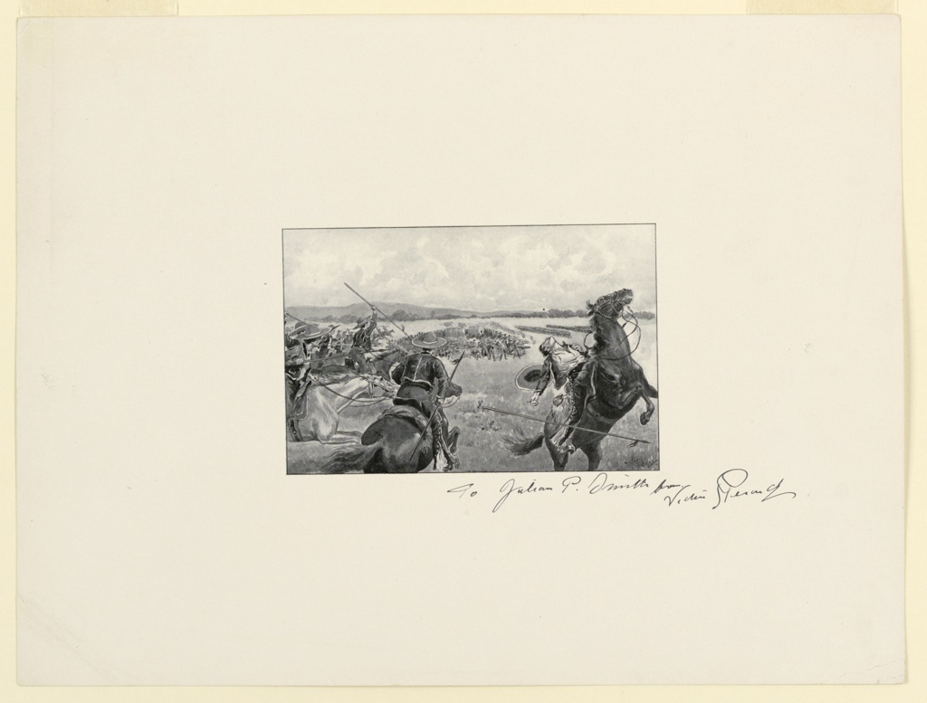 Trial proof for illustration. A cavalry charge takes place in the foreground, one soldier falling from his horse, right. In the distance, massed troops and artilley in battle.