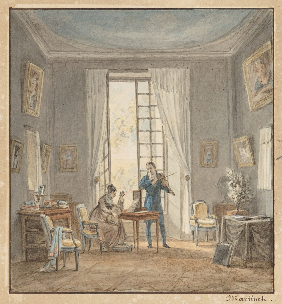 In this small genre scene, the Count d'Arjuzon, plays the violin and his wife, the guitar, in front of open French windows. A serene background of pale blue walls and bare parquet floors enhances the portrait paintings and blue painted armchairs in the style of Louis XVI. To the right of the windows, a globe is seen on a corner table; just forward of that is a white flowering plant on a draped table.
