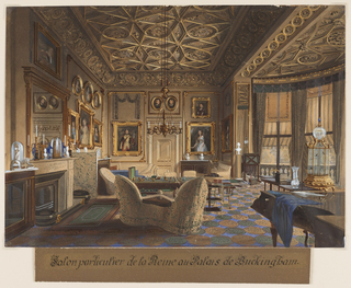 An interior view of a salon, identified as Queen Victoria's private sitting room, shows a semicircular alcove at right and a fireplace at left. French windows, shaded by striped awnings, lead on to a balcony.  A sense of intimacy is conveyed by the slipcovered furniture, most prominently an English form of a tete-a-tete, viewed from behind, and a draped piano at lower right. The facing wall and that on the left are hung with portrait paintings in elaborate gilt frames. A central six-armed chandelier is suspended from the ceiling, which is coffered in an intricate interlace design. Tables, divans and chairs are arranged on a carpet patterned in green and gold ovals on a blue field. Various examples of objets d'art are visible: a gilt birdcage surmounted by a circular fishbowl in the alcove at right, numerous glass-covered figurines and classical marble busts. Especially touching is the cluster of children's toys.