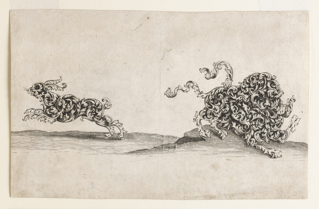 A lion and a hare, both composed of ornamental leaf-work run through a barren landscape. The lion faces right, the hare left. Possibly a design for jewelry