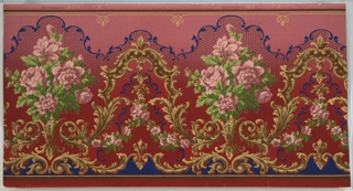 """Large bouquets of pink roses connected by arching scrolling foliage with pendants from which suspend rose swags. Bottom band of scrolling foliage with stylized fleurs-de-lis. Top has undulating band of foliate scrolls that  and looping line with floral pendants. Parts of background has large dash and dot pattern, entire background has thin grid of wavy lines. Printed on ground that shades dark red to pink (bottom to top) in pinks, greens, browns, yellow, dark blue, dark red and black. Pattern number printed in top selvedge: """"914"""" """"TA""""."""