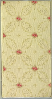 Pink two-flower bouquets between four scrolling lag-and-feather petal-like shapes. Fleurons in resulting negative space. Background has dotted hexagonal grid. Printed in pinks, greens, tan, and brown. Ground is cream. 