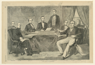 Horizontal view of an interior with President Lincoln and his cabinet seated around a table and facing the spectator.  Secretary Seward stands behind the President and the names of the other cabinet members are indicated in the margin below.