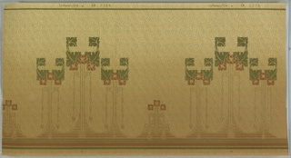 """Mission Style/Art Nouveau. Groups of three flower bouquets, each with three very stylized square flowers, whose stems contain bead and reel and key patterns. These groups are offset by a smaller individual bouquet of flowers. Background has interlocking triangular swirl pattern filled with dots and lines. Ground shades from brown to light beige (bottom to top). Printed in red, green, brown, tan, and metallic gold.  Printed in top selvedge: """"S. A. Maxwell Co."""" """"CK 2754"""""""