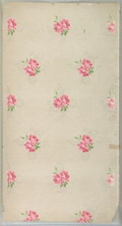 """Pink floral bouquets with white mica foliate scrolls. Ground is white. Printed in greens, pinks, and white mica.  Printed in selvedge: """"Standard. Wall. Paper. Co. 629"""" """"2"""""""
