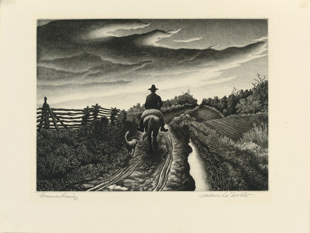 A farmer rides down a dirt road on his horse, seen from back, accompanied by his dog.  A rail fence, at left; a small stream separates the road from tilled fields, right.