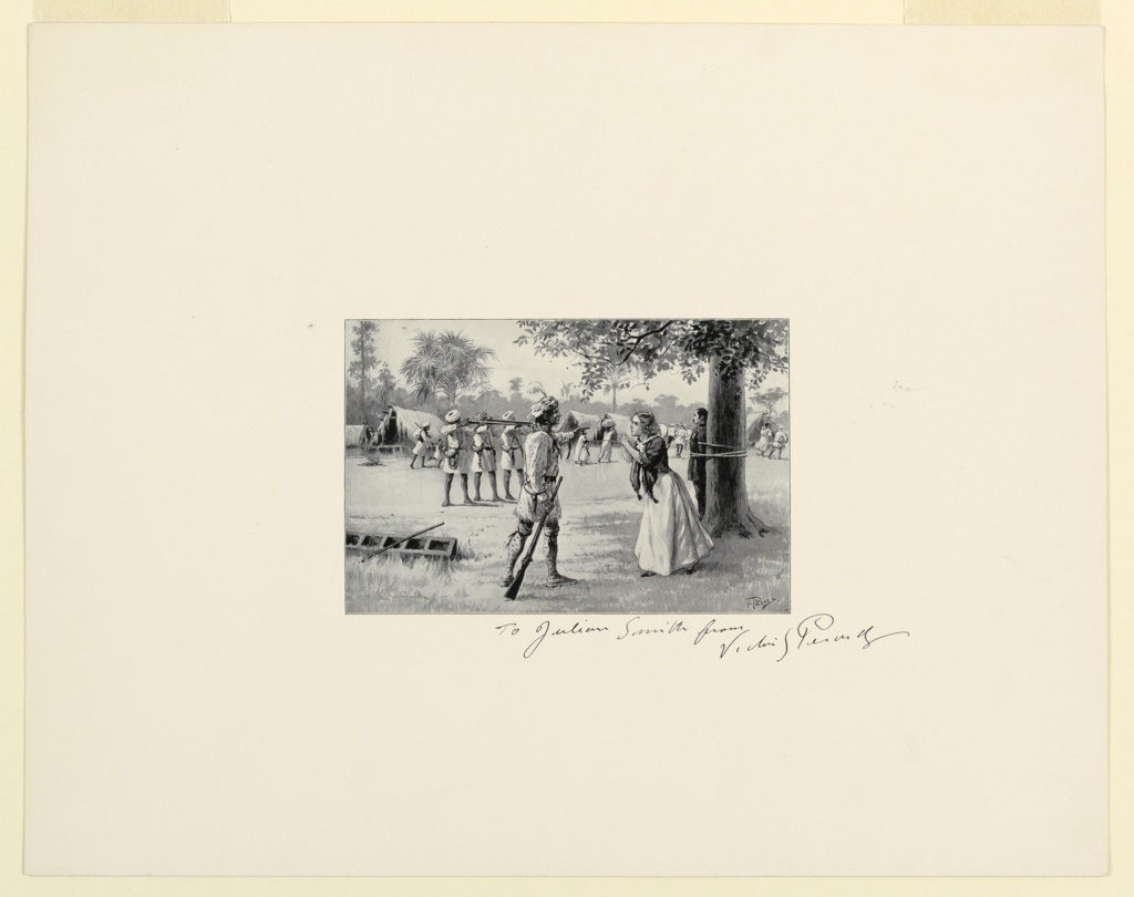 Trial proof for illustration. In the foreground, a woman is pleading for the life of a solider, tied to a tree int he background. Men wearing turbans point rifles at the solider, preparing for an execution. An encampment is in the background.