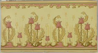 Alternating tulip and stems: two large tulips, one small tulip, one large tulip, and one small tulip. The large tulips have large leaves and stamen. Bottom and top both have scroll panels with a pink background. Bottom also has square beading. Secondary layer of stem and tulip motif in background, over an overall vertical green dash pattern. Ungrounded. Printed in pinks, green, browns, and beige.