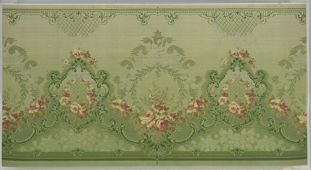 """Alternating large and medium floral medallions. Large medallions have foliate wreaths framed by striated scrolls. Medium medallions have rose wreaths with a trellis interior encricled by foliate scrolls. The medallions are connected by large rose swags and foliate scroll swags that culminate in scallops with pendants. The bottom has monocromatic floral bunches and brattishing pattern. Top has scrolls and trellis pattern. Background is a grid of vertical dashes and dots on a ground that shades from light green to grey (bottom to top). Printed in browns, greens, pinks, light yellow and white. Printed in top selvedge: """"G.W.P. Co."""" pattern number  """"1350""""."""