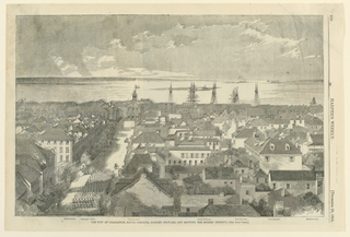 Horizontal view of the city, looking toward the sea: masts of ships rise above the roofs in the distance and a troop of soldiers march down the avenue at left.