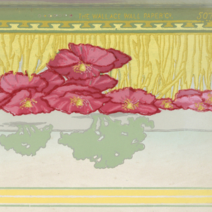 Stylized distant landscape in background, silhouette-like, with band of bright red poppies in middle ground, grass and beaded molding in foreground. Printed in greens, yellows, and pinks.