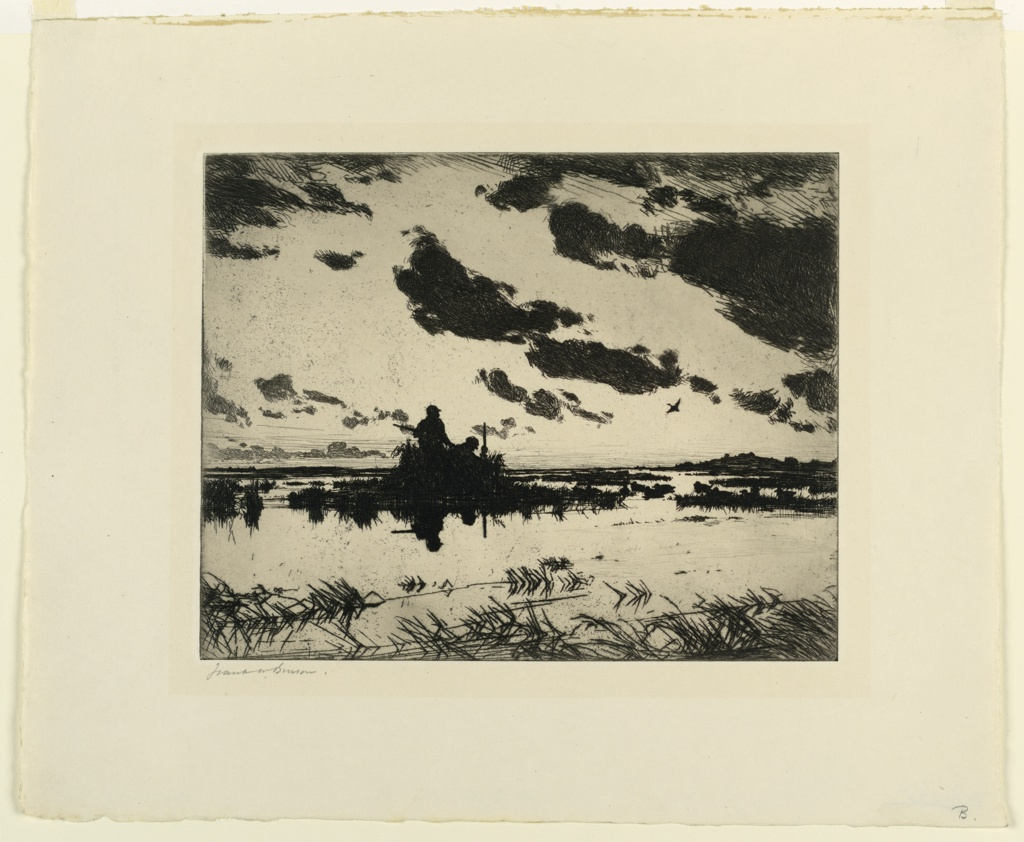 Scene at dawn. Two gunners are silhouetted against the morning light in a low blind in a marshland. Decoys at the right. A single duck is seen flying in the right distance.