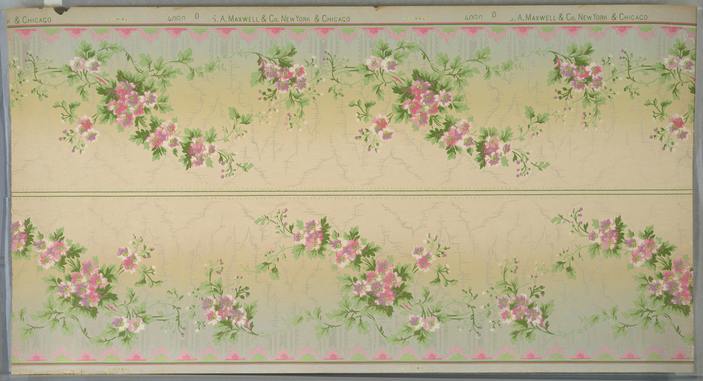 """Borders printed two across. Large floral vining and small floral swags on background of lace-like vertical stripes and moires. Bottom band of brattishing, top band of small scrolls. Ground shades from light grey to cream. Printed in greens, pinks, light purple, white and white liquid mica. Printed in selvedge, """"S. A.  Maxwell & Co. New York & Chicago"""" pattern number """"4060"""" """"D"""""""