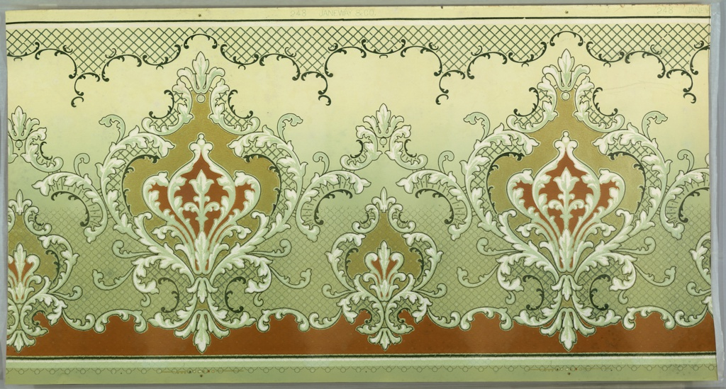 "Alternating large and small floral medallions with scrolling foliage and trellis patterns. Top has band of foliate scrolls with trellis. Parts of background are filled with floral lattice pattern. Printed on ground that fades from green to yellow-cream (bottom to top) in greens, white, brown and gold liquid mica. Printed in top selvedge, ""Janeway & Co"" pattern number ""248""."