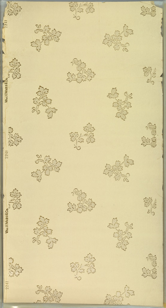 Individual leaf sprigs in alternating directions. Ground is cream. Printed in gold mica and white mica.