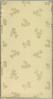 "Individual leaf sprigs in alternating directions. Ground is cream. Printed in gold mica and white mica.  Printed in selvedge: ""Wm. H. Mairs & Co. 2241"""