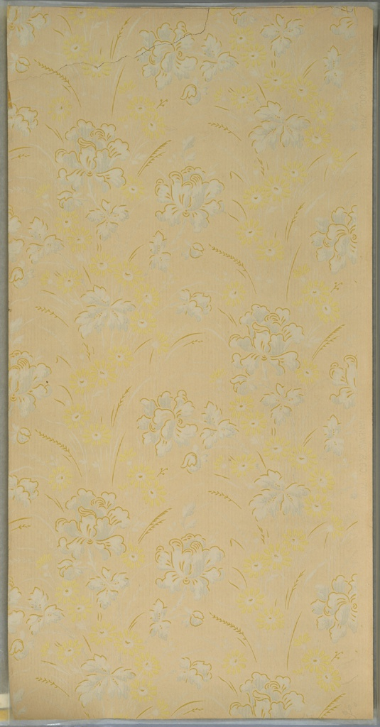 """Blue floral motifs connected by waiving yellow daisy chains that form vertical stripes. Interspersed sprigs of wheat. Ground is textured and cream. Printed in yellow, light blue, white, white mica and tan. Printed in right selvedge: """"Janeway & Co. 768"""""""