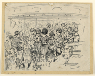 A large group of children in the foreground, their backs turned to the spectator, facing the carousel.