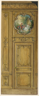 Elevation of section of panelled wall surface with door surmounted by overdoor containing a painting of three figures in landscape.