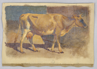 A standing cow is shown in profile, turned toward right, before a wall. Grounding color visible in margins, with canvas shown at the bottom.