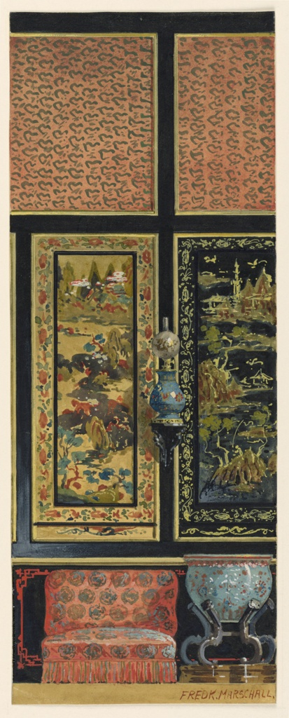 Section of wall, with decoration in Chinese taste. Wainscoting in black, with Chinese red border design. Upper portion, panels with Cinese landscapes and panels of Chinese silk in upper register.