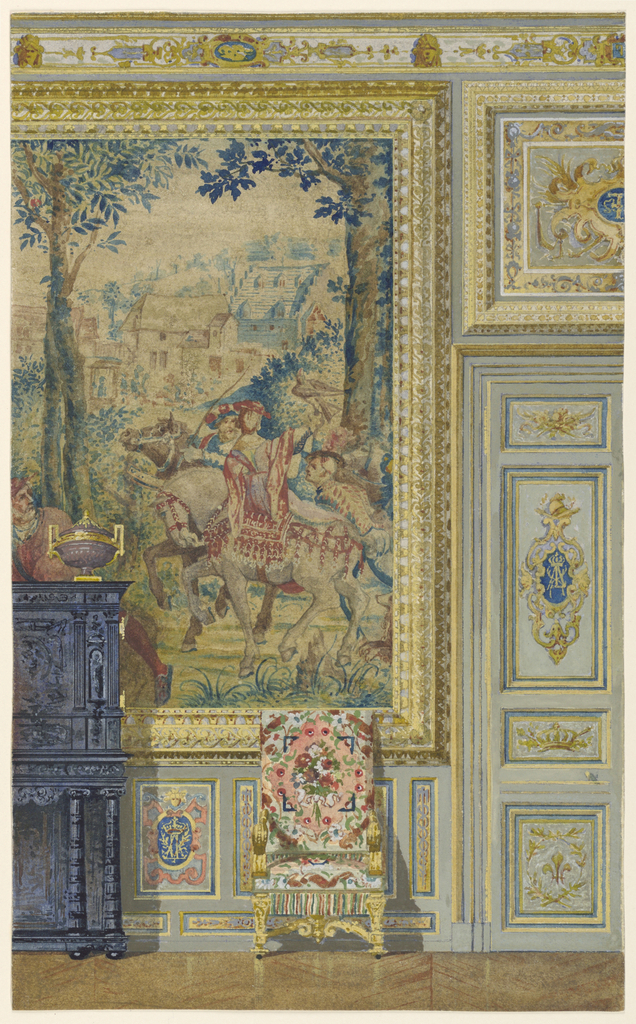 Section of wall, showing portion of one of seven Flemish tapestries set in wide gold frame. Right, door and wainscoting contain panels with monogram of Louis XIV. Sideboard and chair against wall.