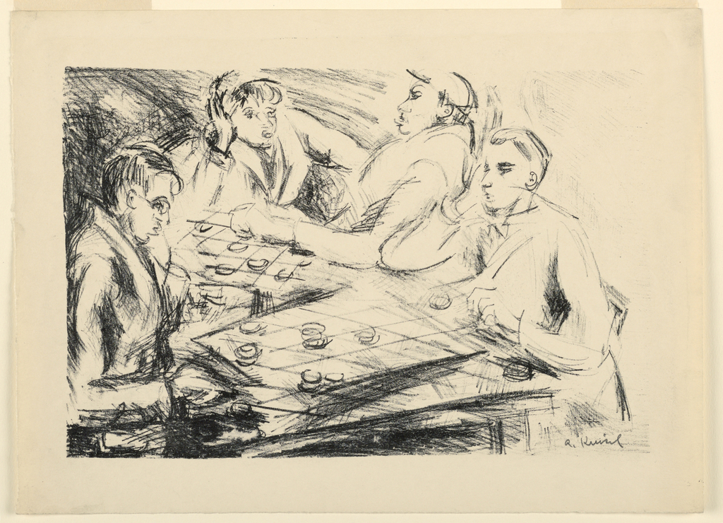 Print, Four Men Playing Checkers