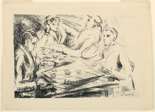 Four figures seated around a table playing checkers. Two checker boards on table.