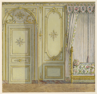 Elevation of section wall. Right, part of bed alcove; left, doorway. Marble dado, with wall surface above decorated with panels contained in narrow gold frames with central and symmetric use of rocaille motifs.