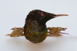Sunbird's head with irredescent brown, golden yellow and blue-green feathers, mounted on gold bar pin; a small gold leaf on either side of bird's head.