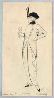 Drawing, Fashion Design for Ladies' Wear, Drawn from Wanamaker's Suit, 1913–14