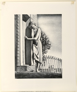 Young woman leans against doorway of house, with her right hand pressed to her head in gesture of sorrow and grief. Her bare, right foot rests on doorstep while other is on ground. A man, seen through picket-fence on right, walks away behind an American flag.