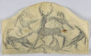 Drawing, Stag surrounded by five h