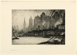 New York skyline in background. Light radiates from around a skyscraper on the left. Water in the foreground with factories on the bank, smoke rising from smokestacks. A couple boats in the water on the right. A boat on the left trails smoke from its smokestack. Dark lines cut across the top right angled down and to the left
