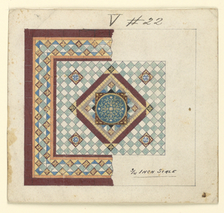 Central geometric motif with round floral ornament.