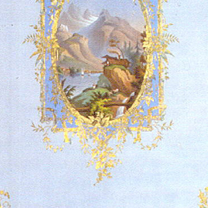 In center, vertical oval medallion brought to a rectangle by rustic framework printed in blue and overstamped in gold. Diagonally repeating on field, conventionalized spiky foliate motif in blue overstamped in gold. Enclosed in frame, applied lithographed medallion displaying Alpine scene, with mountains, lake boats, chalet and figures. Vertical rectangle.