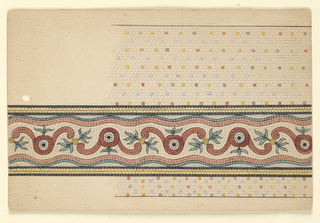 Border pattern with leaves and alternating curved forms. Punched hole at left.