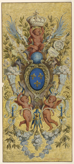 Three gold fleur-de-lis on oval blue ground, enclosed in frame, and surmounted by globe and putto bearing crown. Lower, two winged putti carrying horns of plenty.