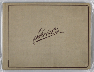 """Horizontal rectangle. Sketchbook of twenty-one leaves, bound in tan linen boards, showing pencil drawings, academic studies of still-life, furniture and figures. Executed in Cooper Union Women's Art School. The fly-leaf bears the following inscription: """"Bessie Beebe/ 123 Livingston St. / Brooklyn, N.Y. / Cooper Art School, November, 1885."""""""