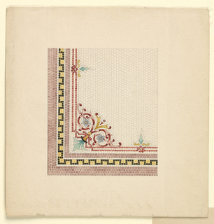 Design for mosaic floor, corner border with floral ornament.