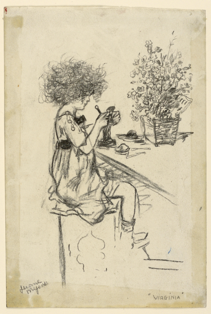 A young girl sitting before a table, with a tool in her hand, modeling a figure in clay. She faces right, in profile. A potted plant or flower arrangement is on the table, right.