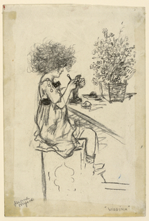 Drawing, Study for etching: Virginia modeling, ca. 1912