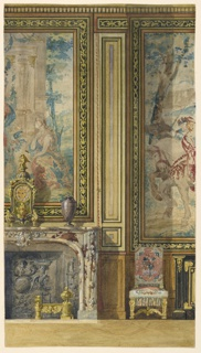 Elevation of section of wall, showing panelling and parts of large tapestries. Left, tapestry over mantelpiece. Right, side chair and commode.