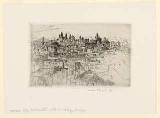 Print, City Silhouette with Brooklyn Bridge