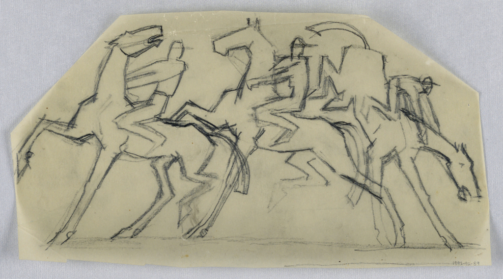 Drawing, Three jockeys on horsebac