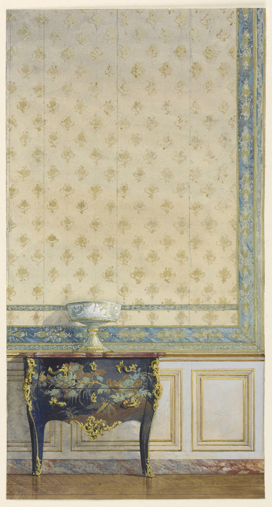 Section of wall, showing panel of silk brocade above wood dado. Left, lacquer and ormolu commode.