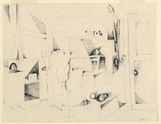"""Interior of a student's room showing chairs, a smock, book cases and an arrangement of objects. Semi abstract rendering. Signed (in pencil), lower right: """"Warren."""""""