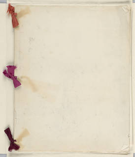 Sheets of paper folded in half and bound together with red ribbons into a sketchbooks with white paper covers. Seven sheets drawn upon, showing a vase holding two peacock feathers, anatomical studies and mice and horses. One leaf dated January 1, 1884. Executed in Cooper Union's Women's Art School.