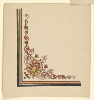 Corner border with floral and vine ornaments.